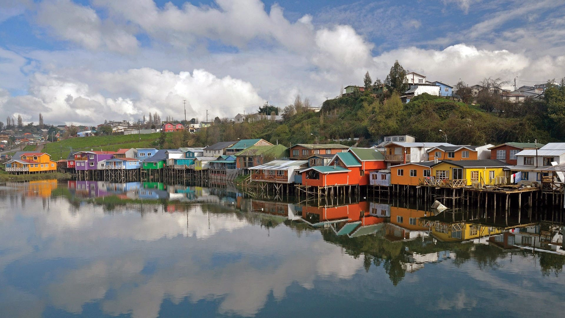 Los Palafitos sobre la Isla de Chiloé en Chile
