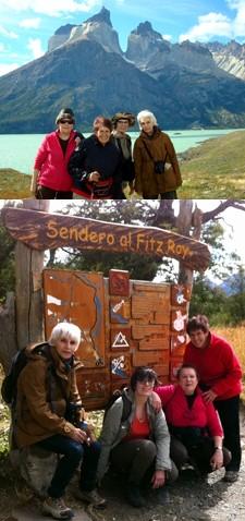 Nimet Mazloum, Thérèse Lavaud, Marie-Christine Auclaire et Éliane Fremineau en Patagonie argentine et chilienne