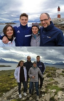 Jérôme, Véronique, Éloi Forestier et Margaux Dussert en Patagonie