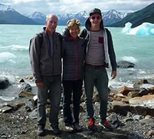 Jacqueline, Jean-François et Quentin Lévêque en Patagonie