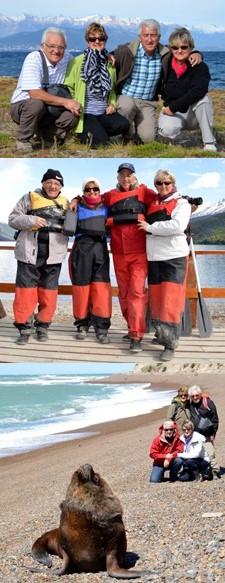 Claudette et Jean-Claude Pouech, Nadine et Daniel Soustrade en Patagonie
