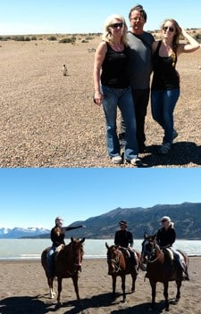 Sarah, Guilaine et Didier Landes en Patagonie